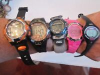 5 SPORT WATCHES - ALL WORKING GREAT! TIMEX, ADIDAS AND MORE