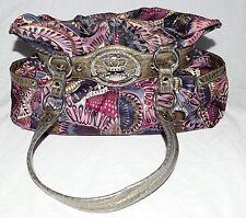 Kathy Van Zeeland Multi Color Fabric & Gray Croc Faux Leather Trim Shoulder Bag