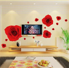 Red Rose Flower Room Decor Removable Wall Stickers Decal Decoration Wandtattoos