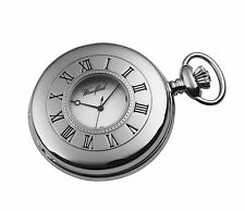 Sterling Silver Plated Woodford Half Hunter Pocket Watch With Chain 1212
