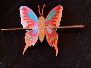 Pony Tail Stick Leather Hair Clip Red/Multi-color Butterfly