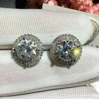 Delicate 4Ct Round Cut VVS1/D Diamond Halo Stud Earrings 14K White Gold Finish