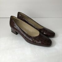 Etienne Aigner Womens Sz 7M Brown Embossed Leather Slip-On Heels Classic Pumps