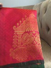 Women's Kanchipuram Indian Silk Pattu Saree Sari Pink Gold Green Blouse New