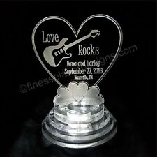 Guitar Love Rocks Lighted Wedding Cake Topper Acrylic Cake Top Personalized