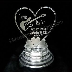 Guitar Love Rocks  LED Lighted Wedding Cake Topper Acrylic Cake Top Personalized
