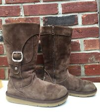 UGG Brown Suede Sheepskin Tall Zipper Pocket Buckle Boots 5 USED * RARE!