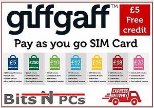 GIFFGAFF SIM CARDS - INCLUDES STANDARD, MICRO & NANO SIM CARD