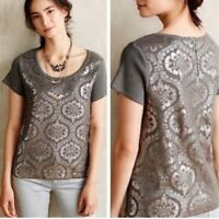 Anthropologie Moth Womens Medium Top Metallic Silver Foil Damask Short Sleeve