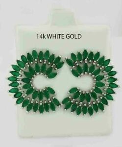 GENUINE 5.76 Cts EMERALDS STUD EARRINGS 14K WHITE GOLD PLATED ** New With Tag **