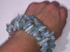 Designer Deb Guyot Aquamarine 3 Row Silver Bracelet 9 + 1 Inch