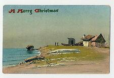 POSTCARD - CHRISTMAS - VINTAGE TUCK'S - 1909 - EMBOSSED - BEACH SCENE