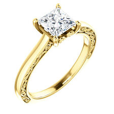 Semi Mount Setting 14k Yellow Gold Engagement Ring Vintag For Princess Cut Stone