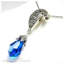 Anhänger mit Markasit & blauem Glas Tropfen 925er Silber Kettenanhänger
