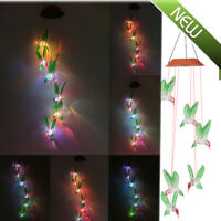 Solar Color Changing LED Hummingbird Wind Chimes Home Garden Decor Light Lamp MA