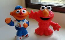 Lot Of 2 Sesame St Elmo and Ernie Figures Hasbro Henson Toy Cake Topper