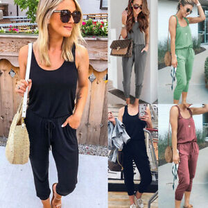 UK Women Sleeveless Casual Comfy Playsuit Jumpsuit Ladies Tracksuits Lounge Wear