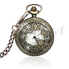 Vintage Silver Mechanical Pocket Watch Bronze Chain Pendant Necklace Gift Retro