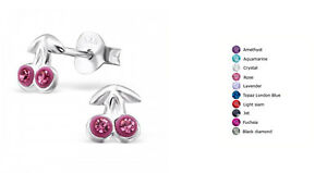 Children's Sterling Silver Cherry Ear Studs with Crystal
