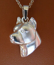 Sterling Silver Pit Bull Terrier AM Staff Head Study Pendant