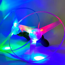 Colorful Pull String Colorful LED Light Up Frisbee Flying Saucer Disc Toy QW