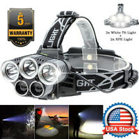 High Power 350000LM XPE T6 LED Headlamp Headlight Torch Rechargeable Flashlight