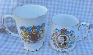 Pair of Vintage Royal Albert Bone China Mugs 1953 Coronation Queen Elizabeth II