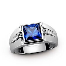 Solid 925 Silver Ring for Men with Blue Sapphire and GENUINE DIAMONDS all sz