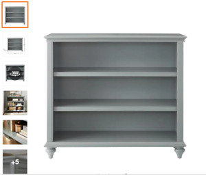 Home Decorators Collection 36 in. Distressed Gray Wood 3-shelf Accent Bookcase w