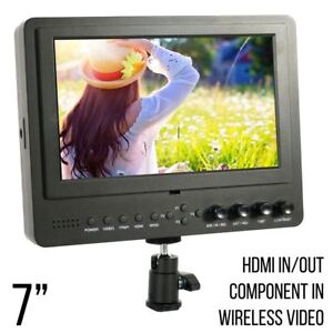 Wireless HDMI Transmitter HD/4K Compatible On Camera 7 Inch LCD Video Monitor