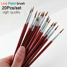 20Pcs Artist Paint Brush Set Round Nylon Hair Hook Line Oil Watercolor Acrylic
