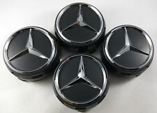 4 PC SET Mercedes Benz Wheel Raised Center Caps Matte Black Hubcaps 75MM