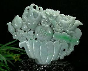 Cert'd Green Natural A Jade jadeite Sculpture Statue Fruit basket a20801322