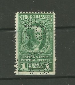 USA 1942 Sc#RD127 $1 Stock Transfer revenue/fiscal stamp PERFIN (Levi Woodbury)