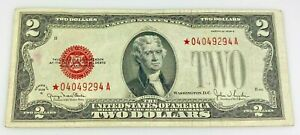 1928 G $2 Dollar Red Seal Star Note Replacement