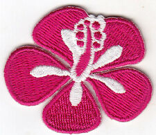 HIBISCUS, FUCHSIA - FLOWER - TROPICAL - HAWAII - Iron On Embroidered Patch