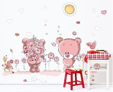 ROSA TEDDY BEAR Vinile Adesivi Murali Adesivo Murale Carta Nursery Home Decor Art