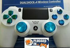 SONY PS4 WHITE & CHROME BLUE BUTTONS CONTROLLER BRAND NEW