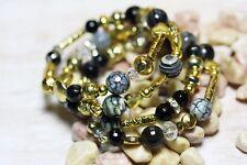 Schwarzes Botswana Achat Armband Gold Perlen Glas Böhmische Schwarz Weiß Grau 10