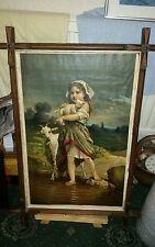 Antigua Cuadro, impresión de niña con cabras. En Marco Antiguo