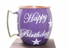Happy Birthday Hand Painted Copper Moscow Mule Mugs Special Deign Purple