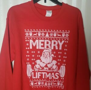 Vtg Merry Liftmas Weightlifting Santa Gym Christmas Holiday Unisex M Sweatshirt