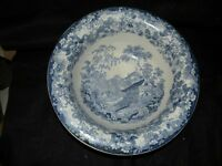 """ANTIQUE SWISS SCENERY STAFFORDSHIRE BLUE AND WHITE 13"""" FRUIT BOWL"""