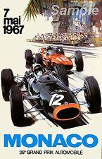 VINTAGE 1967 MONACO GRAND PRIX RACING A2 POSTER PRINT