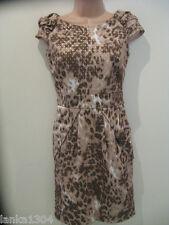 Next Gold Brown à mancherons Mix droite serré Robe de Soirée (NOUVEAU) taille 6 - £ 40.00