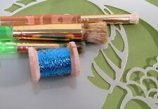 Vintage Turquoise w/ white Metallic Tinsel  Fly Tying  Weave Knit