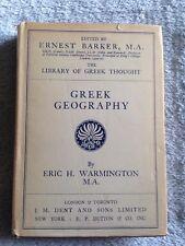 Greek Geography / Eric H. Warmington - 1934 - Hardback Book w/ Dust Cover