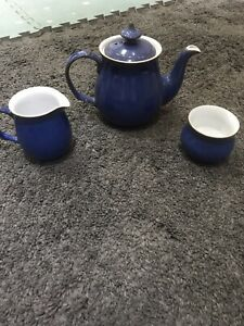 Denby Tea Pot, Sugar Bowl, Milk Jug In Imperial Blue