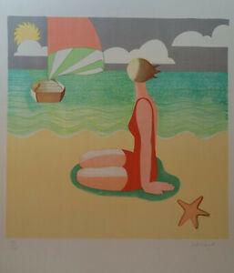 Scott Kilgour - Silk screen limited edition, Surreal beach wall art, 50.5 x 51cm
