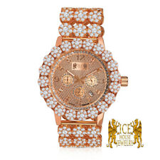 Real Genuine Diamond Stainless Steel Rose Gold Men Custom Ice House Watch W/Date